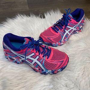 Asics Gel Flux Running Shoe Sneaker Pink Blue